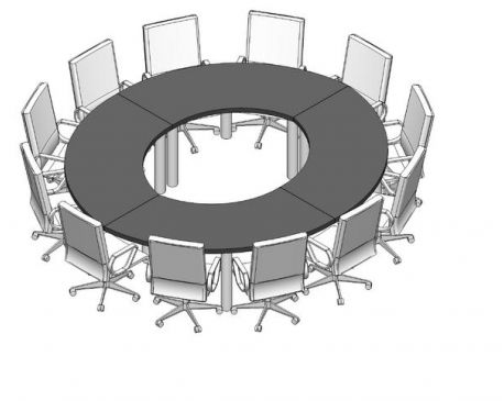 Conference Table and Chairs for Revit - modlar com