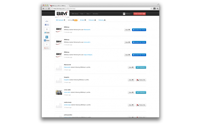 BIMstop BIM activity feeds have arrived