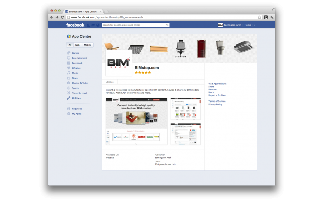 BIMstop now available in the Facebook app store