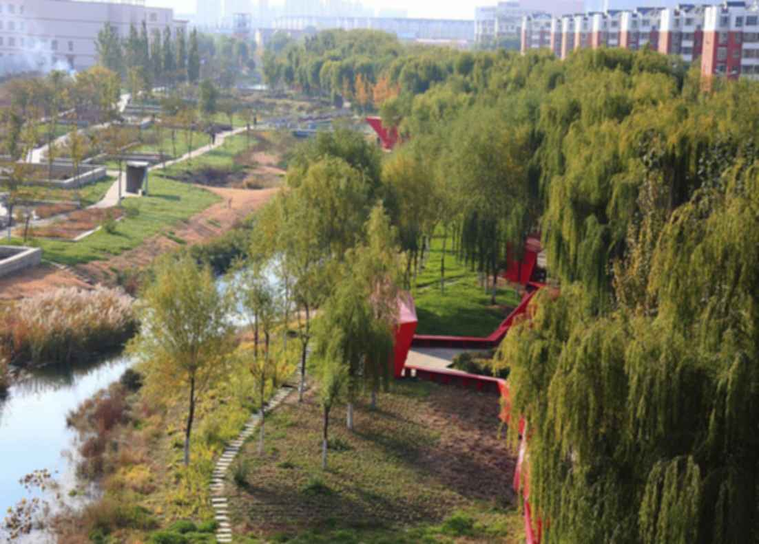 The Red Folding Paper In The Greenway - View from above