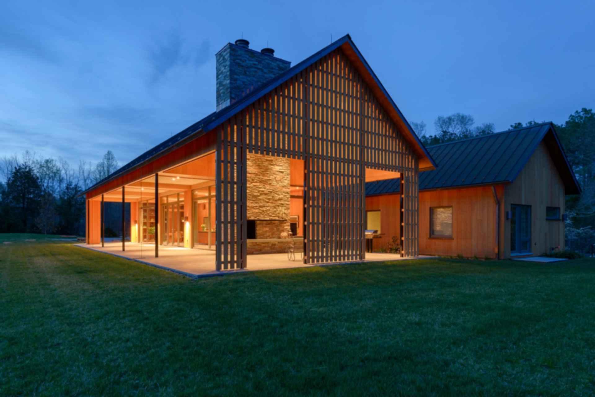 Contemporary Barn Residence - At Night