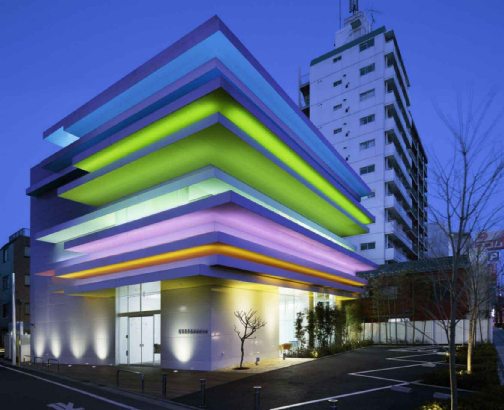 Sugamo Shinkin Bank - Exterior at Night