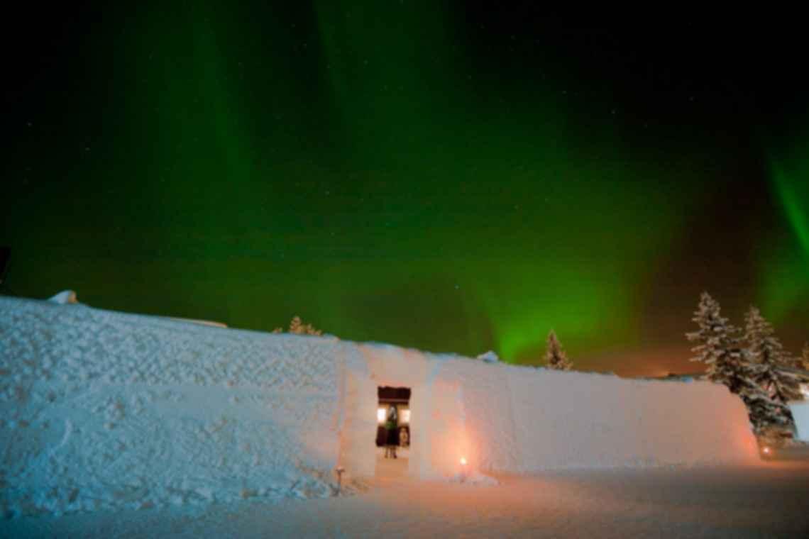 Jukkasjarvi Ice Hotel - Exterior at Night