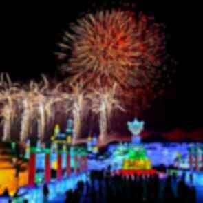 Harbin International Ice And Snow Festival - Night/Fireworks
