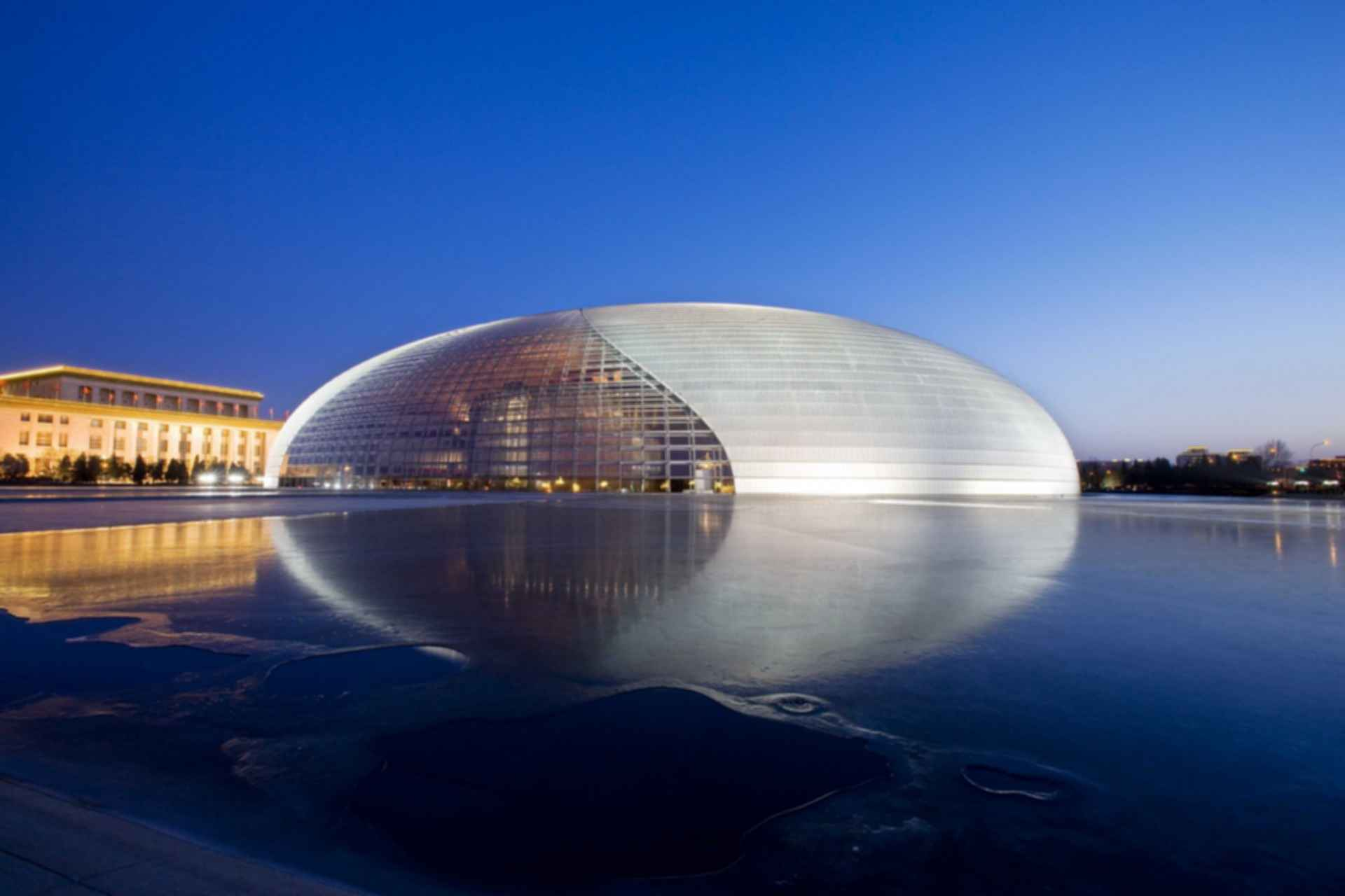 National Centre for the Performing Arts - Exterior at Night/Landscape