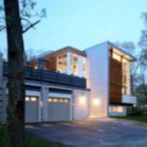 Big Dig House - Exterior at Dusk/Garage