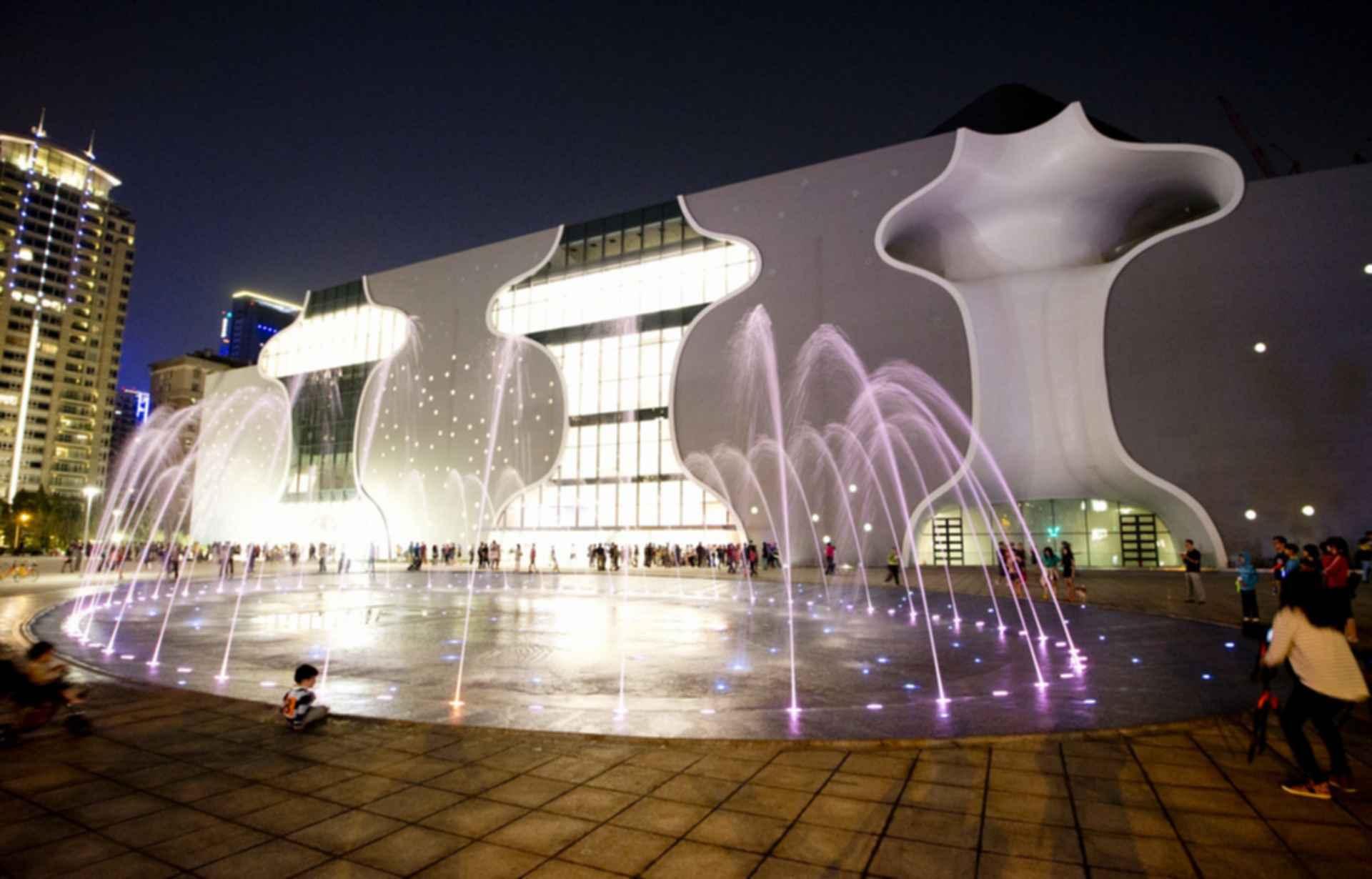 Taichung Metropolitan Opera House - Exterior at Night