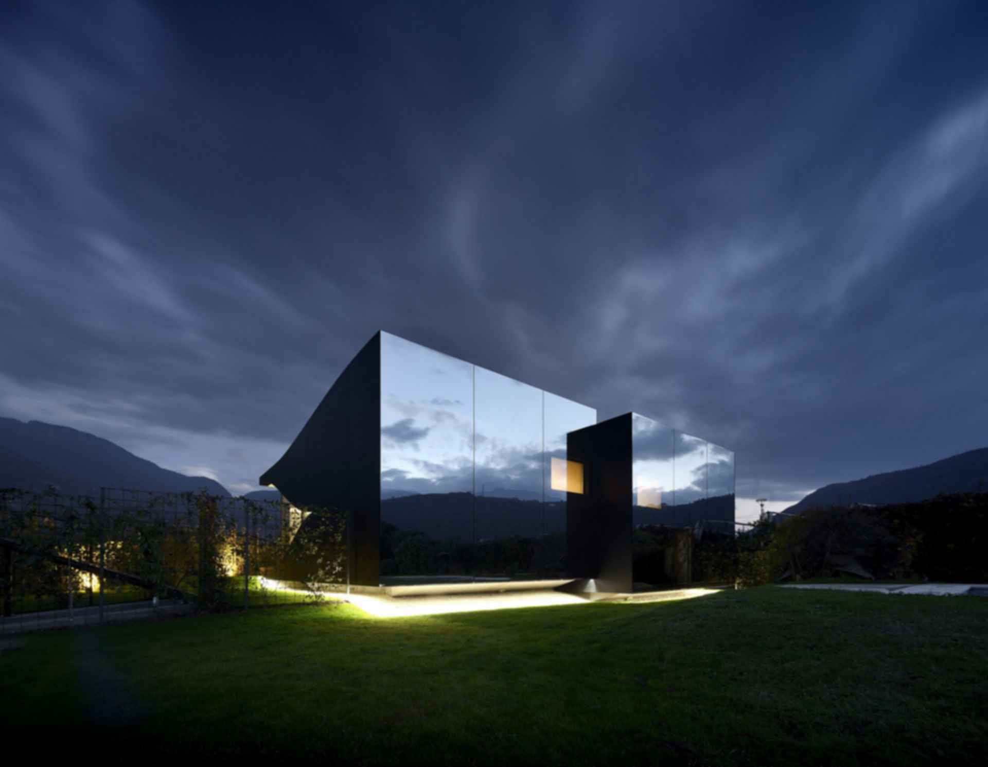 The Mirror House - Exterior at Night