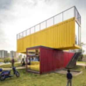 Container Stack Pavilion - Exterior/Stairs