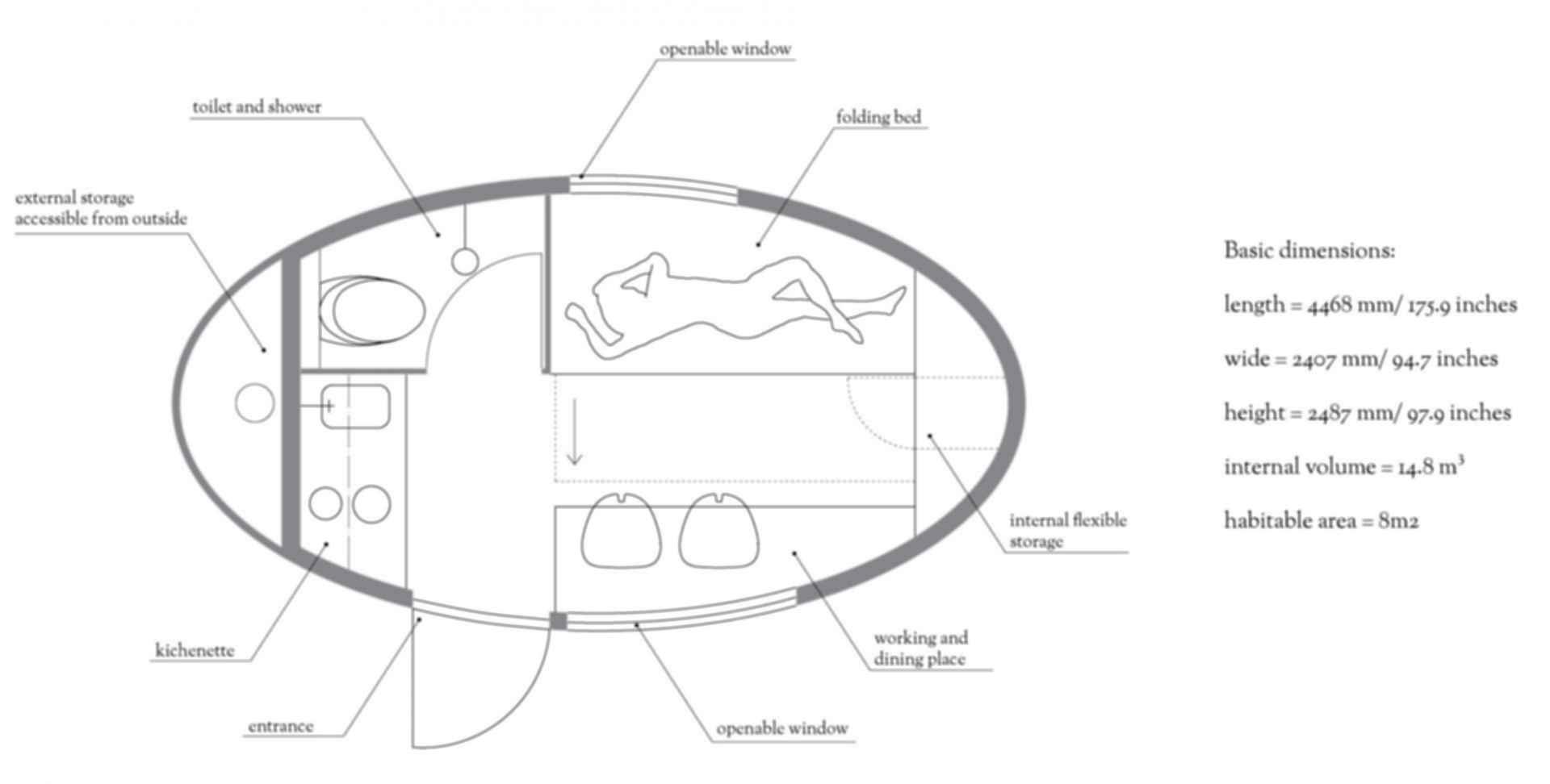 Ecocapsule - floor plan