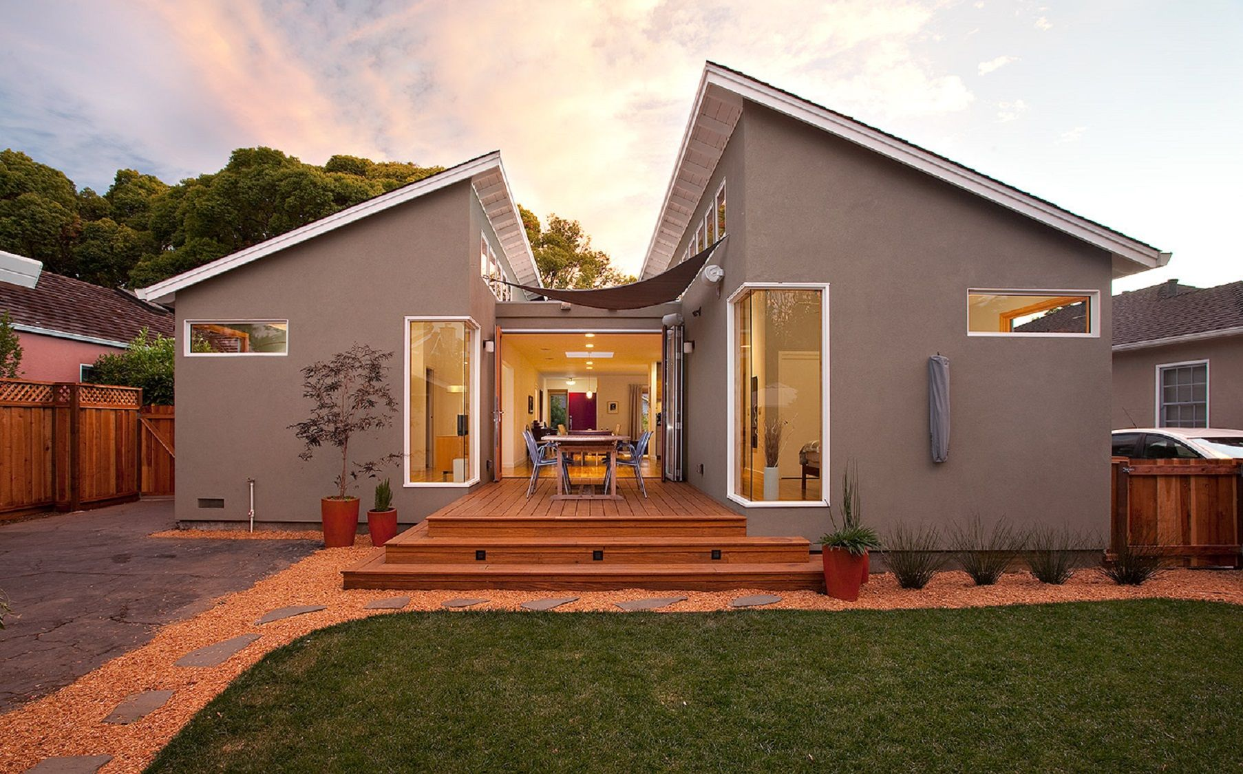 Modern Ranch House Conversion Exterior Entrance