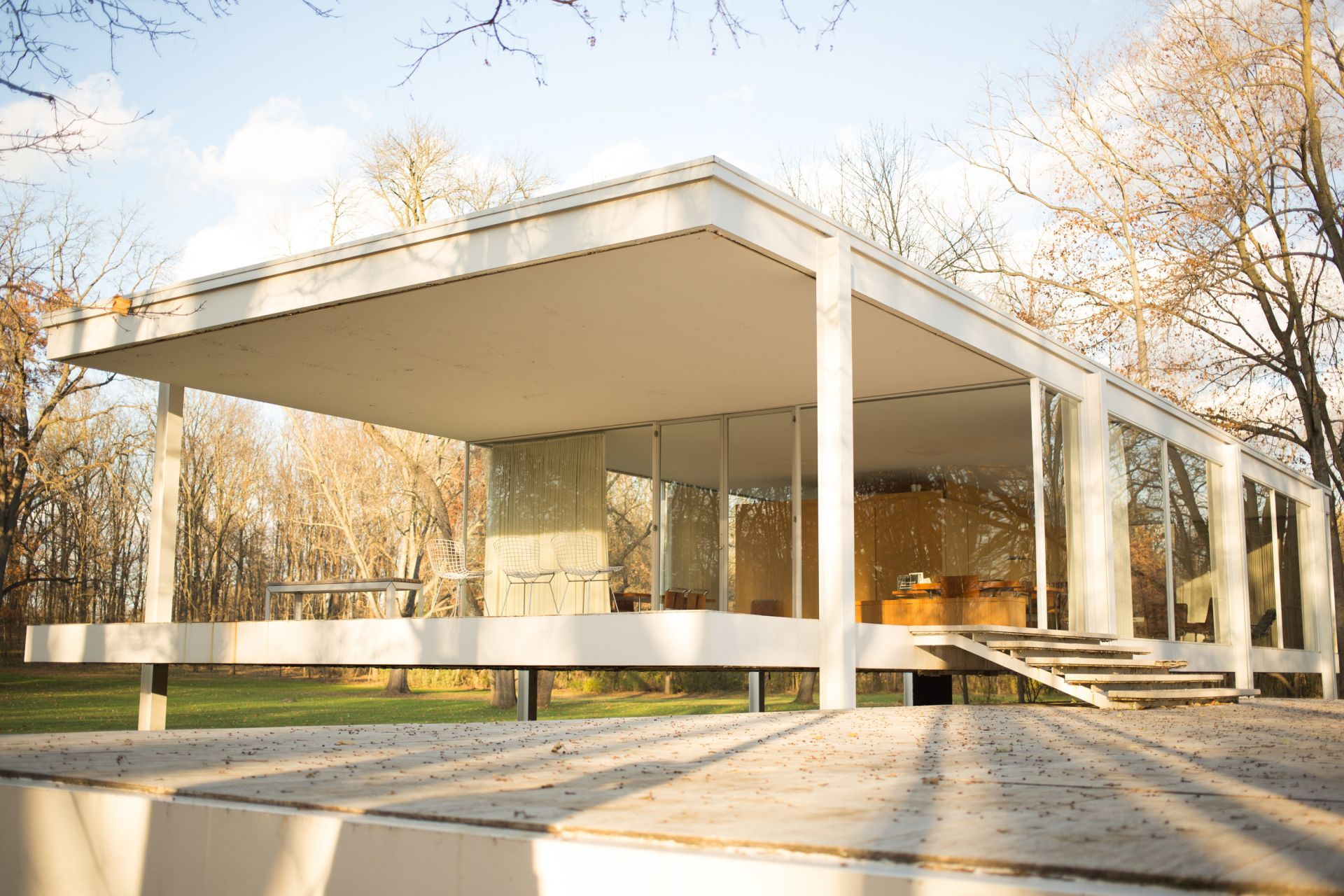 Farnsworth house by mies van der rohe exterior 8 jpg - Learn More