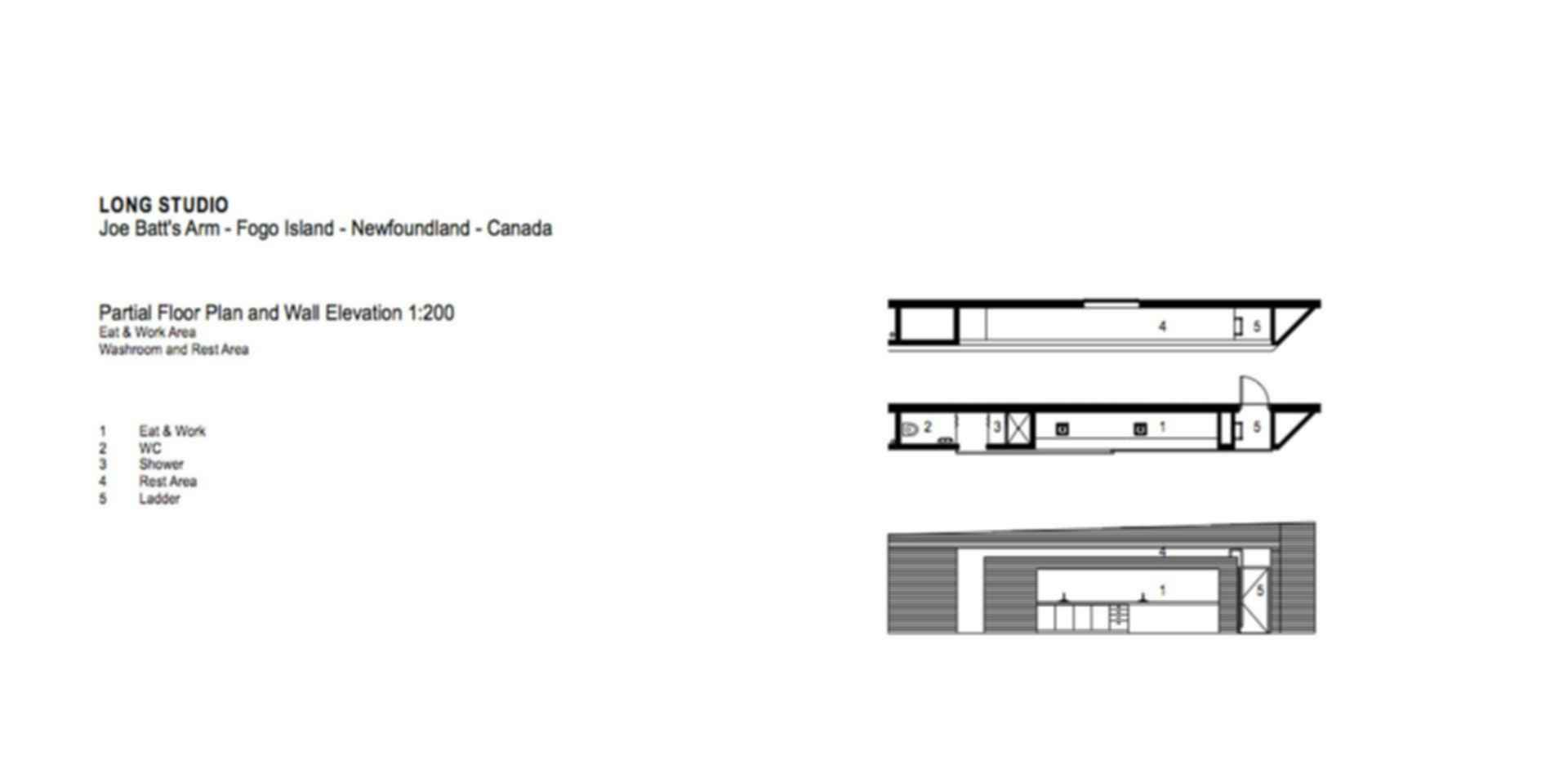 The Fogo Long Studio - Floor Plan/Elevation