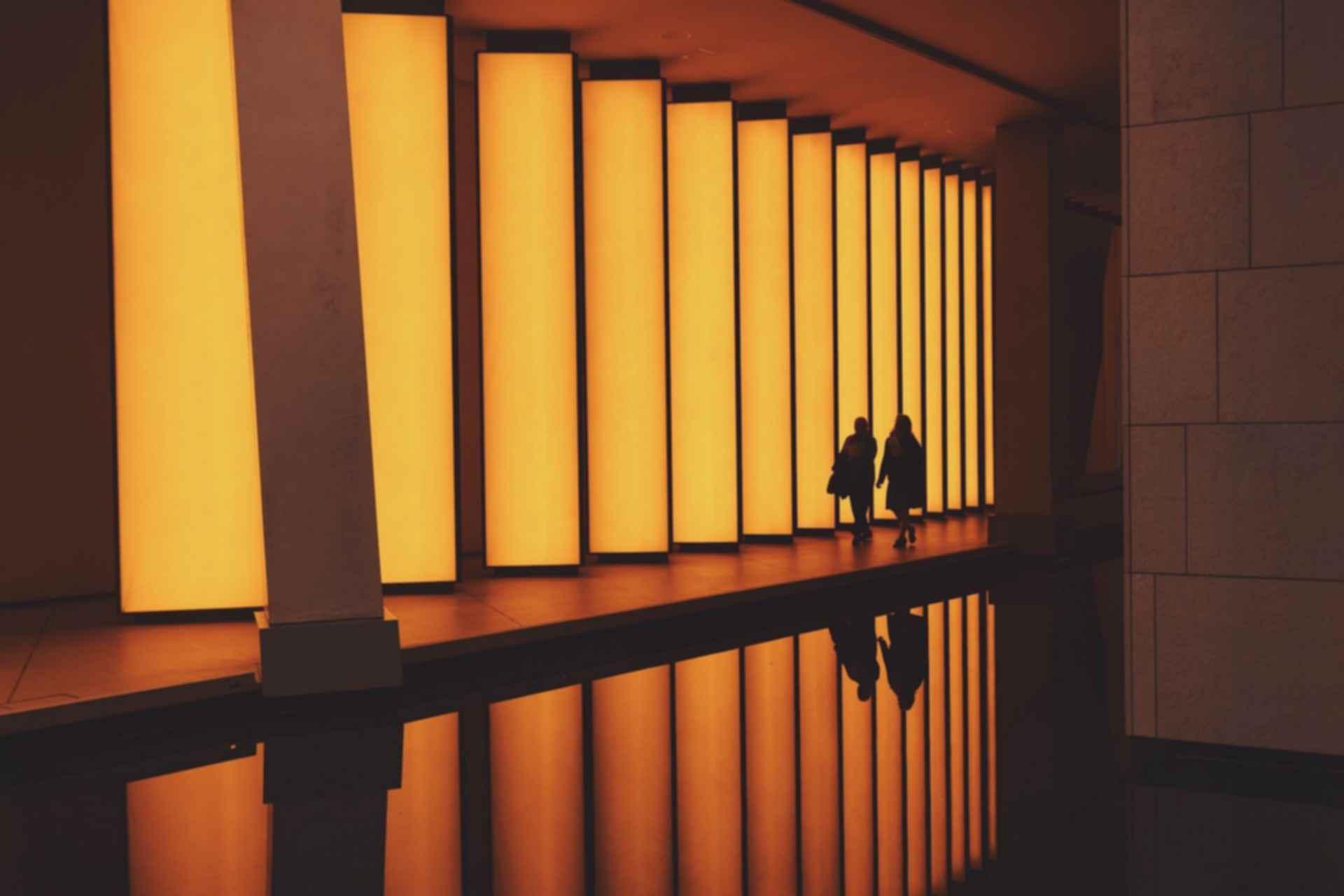 Water reflecting buildings