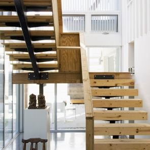 Wooden interior staircase