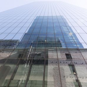 Glass Wall From Low Perspective