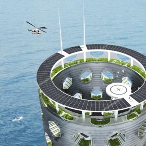 Vertical City Concept Design - Bird's Eye View