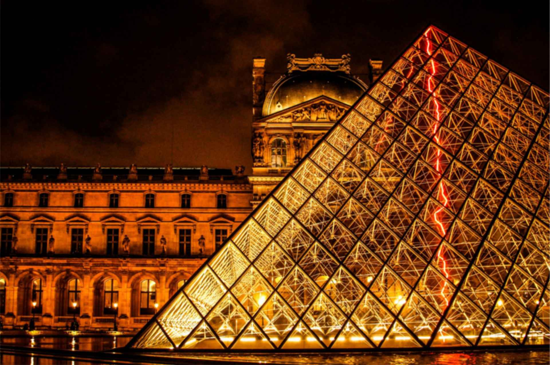 The Louvre Paris - Pyramid at Night