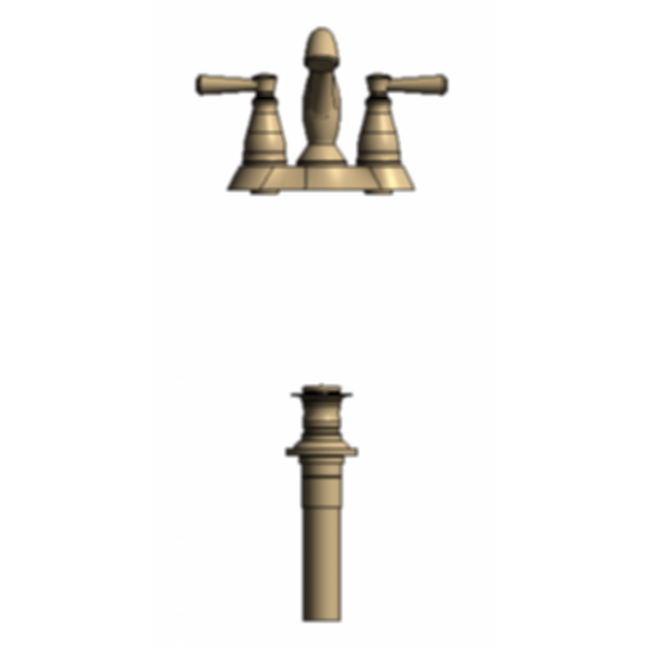Two Handle Centerset Lavatory Faucet - Metal Pop-Up with new handles - Champagne Bronze