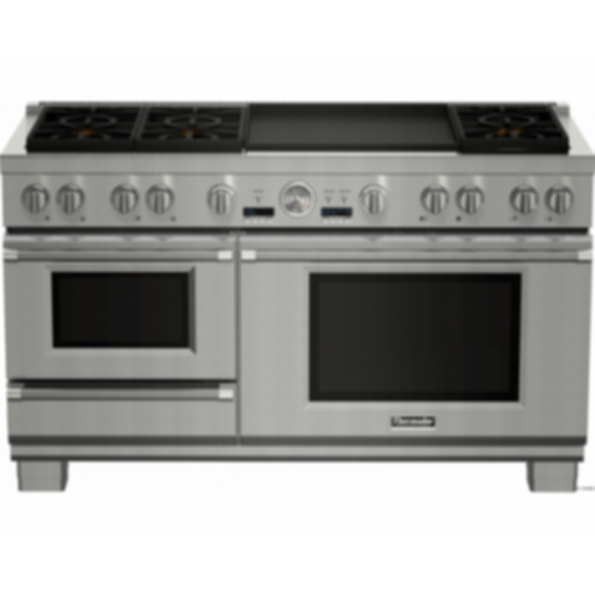 PRD606RESG 60 inch Dual fuel pro grand Range with steam and double griddle