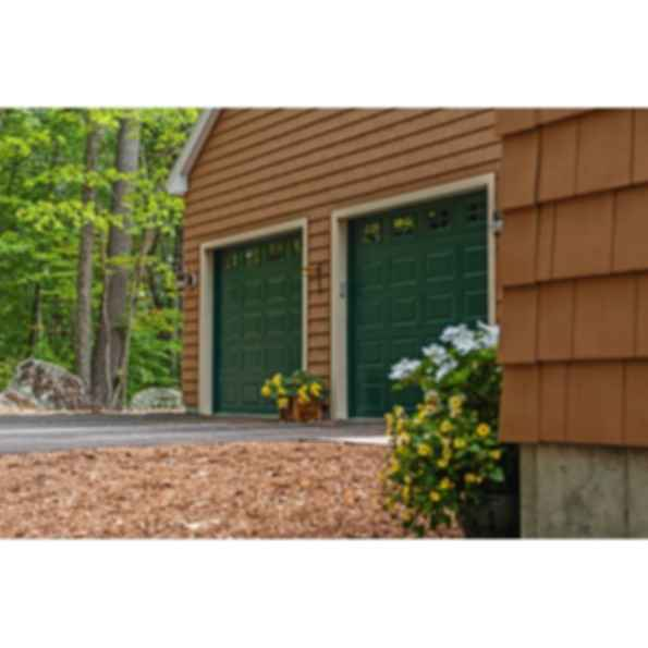 Raised Panel Pan Garage Doors- woodtone/wood