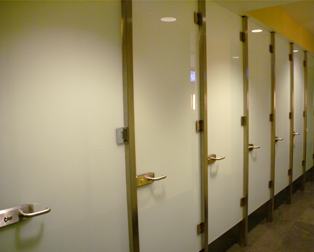 Frameless glass restroom partition system for Commercial bathroom partition doors