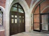 6-Panel Wood Grain Fiberglass Door