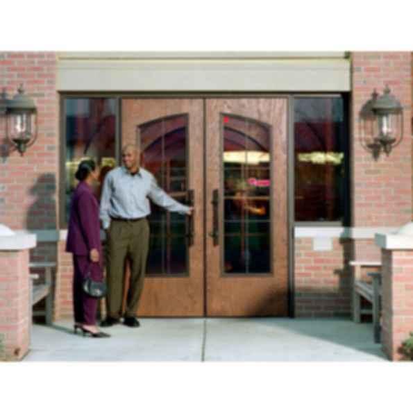 Rustic Wood Grain Fiberglass Door