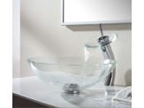Kraus Crystal Clear Glass Vessel Sink and Waterfall Faucet