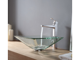 Kraus Clear Aquamarine Glass Vessel Sink and Virtus Faucet