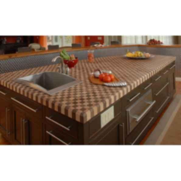 Custom Wood Butcher Block Countertops with Overmount or Undermount Sinks