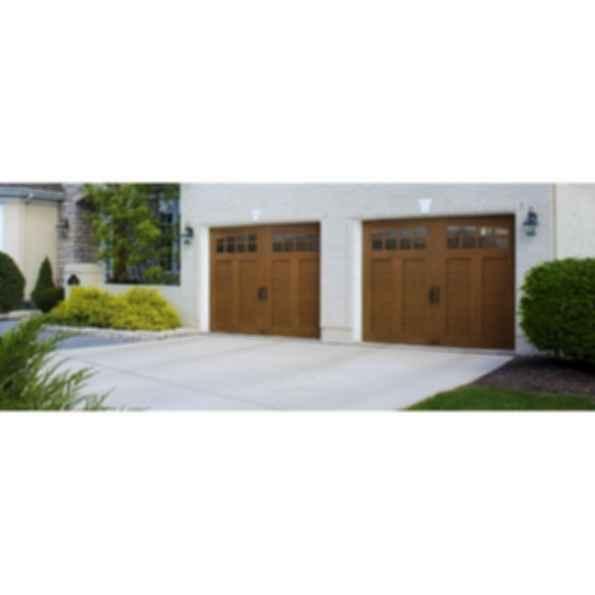 Custom Crafted Wood-Look 4-Layer Garage Door