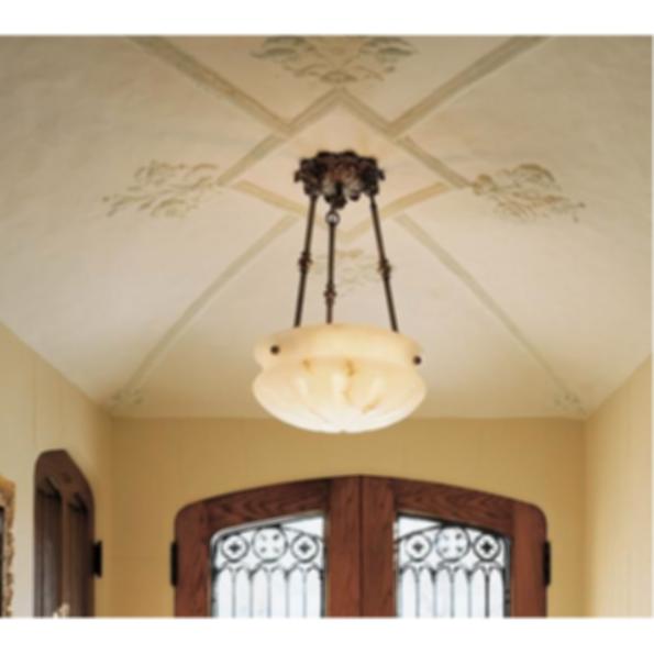 "Pantheon™ 16"" Diam Ornate Multi-Stem Alabaster Pendant Light"