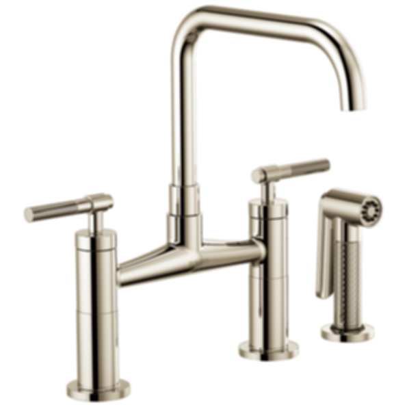 Litze™ Bridge Faucet with Square Spout and Knurled Handle 62553LF