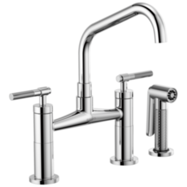 Litze™ Bridge Faucet with Angled Spout and Knurled Handle 62563LF