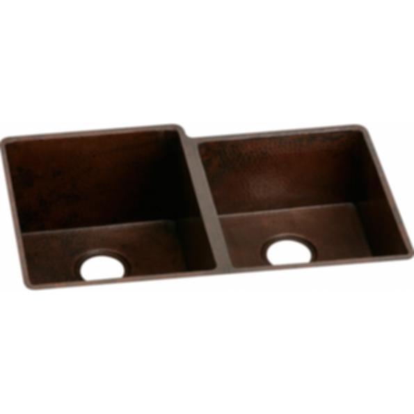 Elkay Copper Offset Double Bowl Undermount Sink