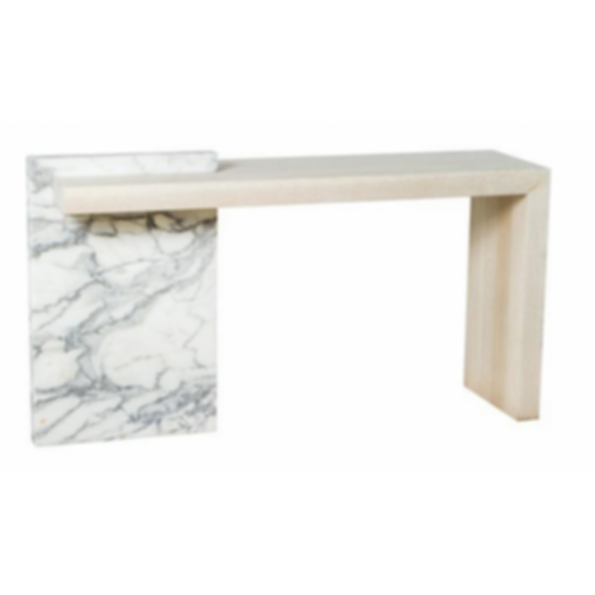 Marble and Bleached Oak Console