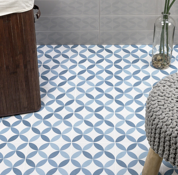 Norwalk Floor Deco Blue 8x8 Matte Porcelain Tile Modlar Com