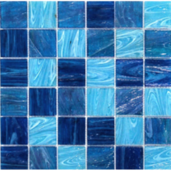 Aquatic Ocean Blue 2x2 Square Glass Tile