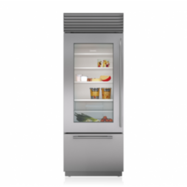 "30"" Classic Over-and-Under Refrigerator/Freezer with Glass Door BI-30UG/S"