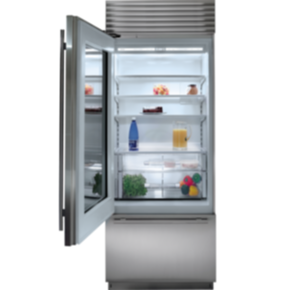 "30"" Classic Over-and-Under Refrigerator/Freezer with Glass Door - Panel Ready BI-30UG/O"