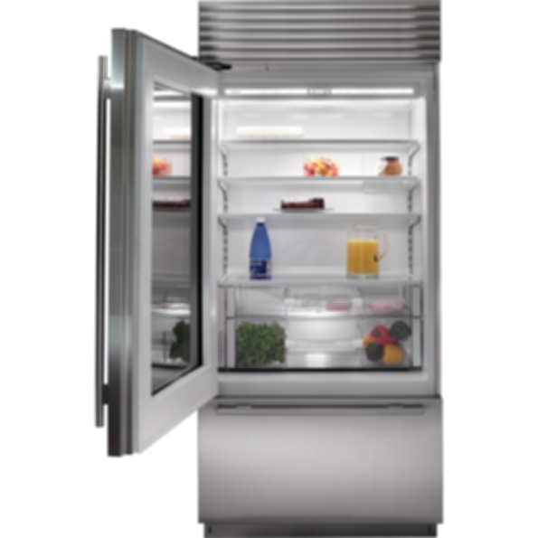 "36"" Classic Over-and-Under Refrigerator/Freezer with Glass Door BI-36UG/S"