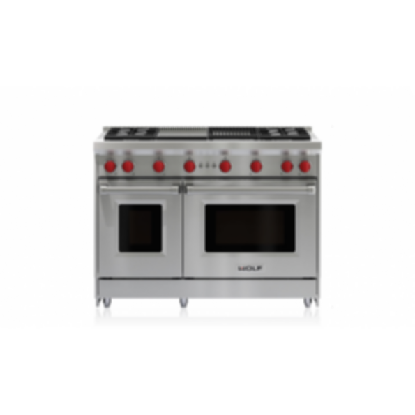 """48"""" Gas Range - 4 Burners, Infrared Charbroiler and Infrared Griddle GR484CG"""