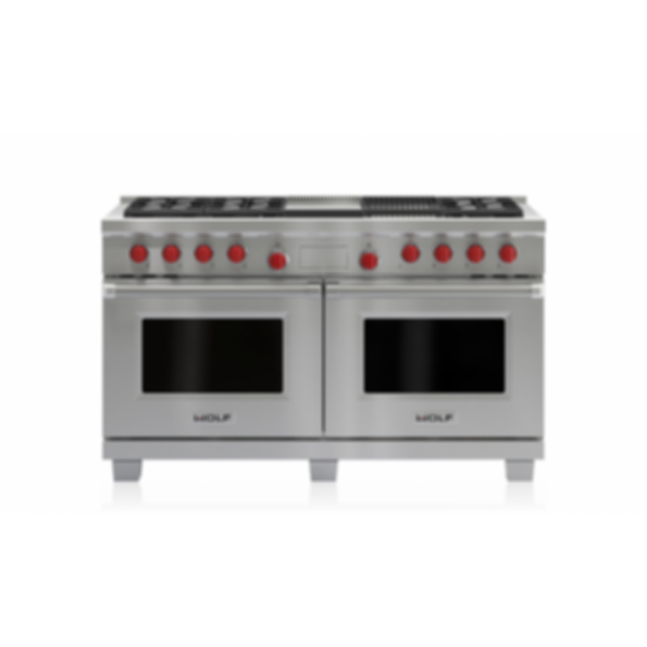 """60"""" Dual Fuel Range - 6 Burners, Infrared Charbroiler and Infrared Griddle DF606CG"""