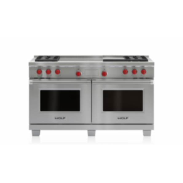 """60"""" Dual Fuel Range - 4 Burners, Infrared Griddle and French Top DF604GF"""