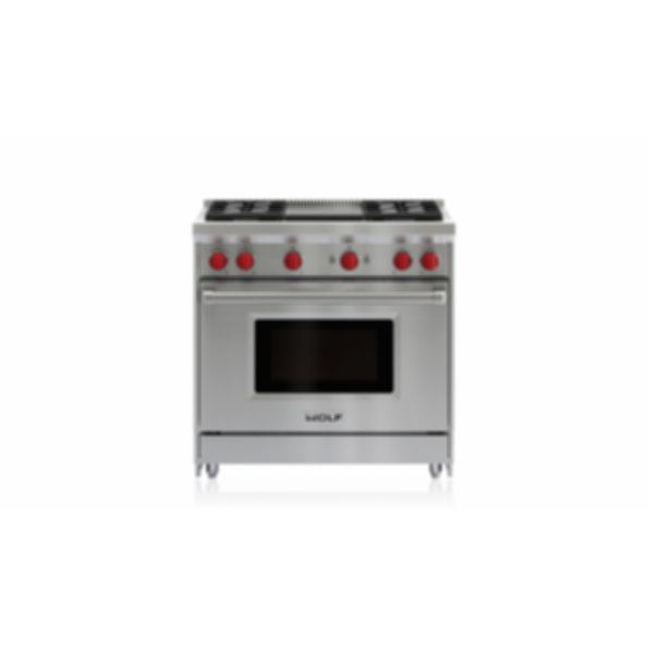 "36"" Gas Range - 4 Burners and Infrared Griddle GR364G"