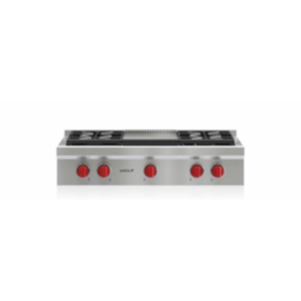 """36"""" Sealed Burner Rangetop - 4 Burners and Infrared Griddle SRT364G"""