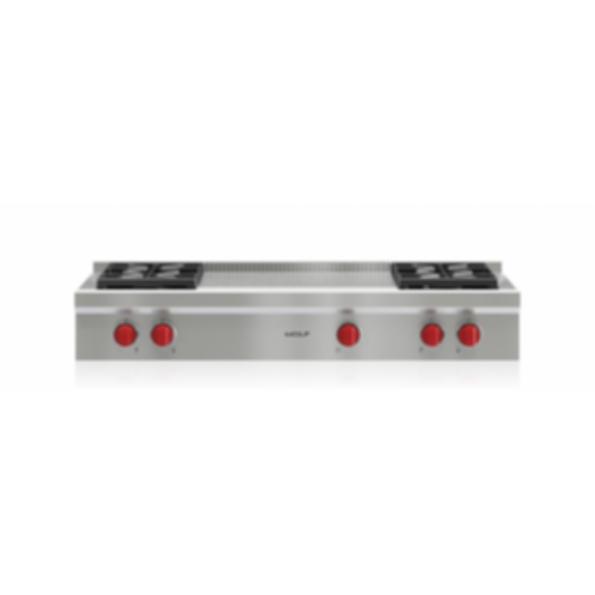 "48"" Sealed Burner Rangetop - 4 Burners and French Top SRT484F"