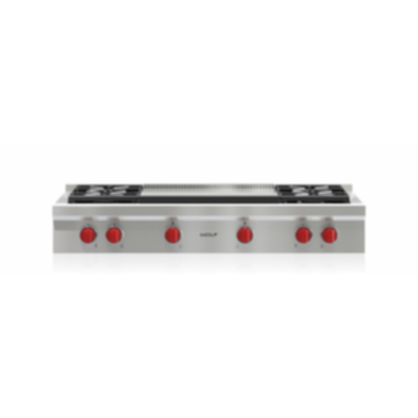 "48"" Sealed Burner Rangetop - 4 Burners and Infrared Dual Griddle SRT484DG"