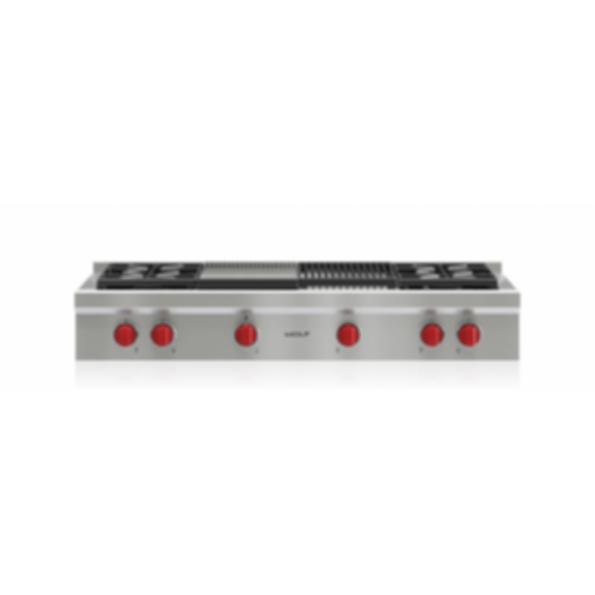 """48"""" Sealed Burner Rangetop - 4 Burners, Infrared Charbroiler and Infrared Griddle SRT484CG"""